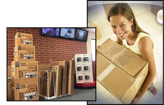 Woman with Boxes and Storage Unit